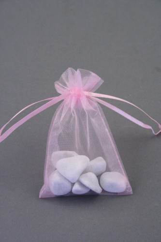 Pink Organza Gift Bag & Wedding Favour Bag. Approx Size 10cm x 7.5cm.