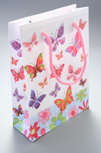 Butterfly Print Giftbag with Pink Corded Handle. Glossy Finish. Size Approx 20cm x 15cm x 6cm.
