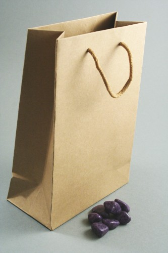 Natural Brown Paper Gift Bag with Corded Handle. Approx Size 20cm x 14cm x 7cm