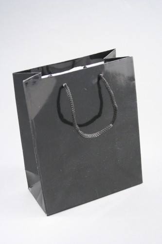 Glossy Finish Black Giftbag with Cord Handle. Size 15cm x 12cm x 6cm.