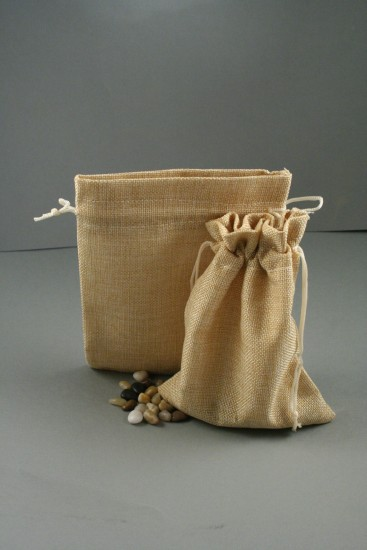 Natural Brown Jute Effect Drawstring Gift Bag. Approx 20cm x 14cm