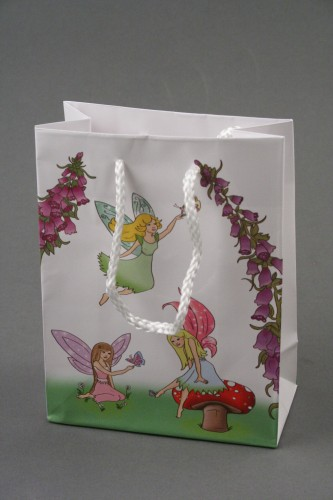 Fairy Print Gift Bag with Pink Corded Handle. Approx Size 15cm x 11.5cm x 6cm.