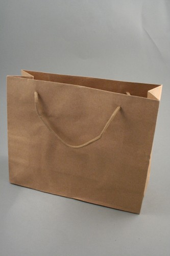 Natural Brown Paper Gift Bag with Corded Handle. (Landscape) Approx Size 24cm x 33.5cm x 10cm