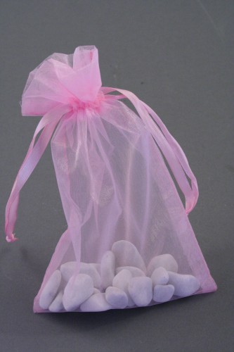 Pink Organza Gift Bag & Wedding Favour Bag. Approx Size 15cm x 11cm.