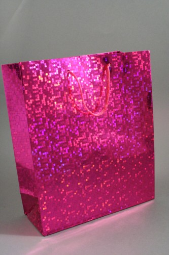 Pink Holographic Foil Gift Bag with Pink Corded Handles. Approx Size 21.5cm x 18cm x 7.5cm